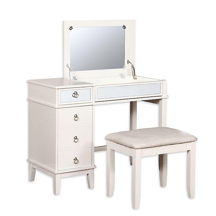 Linon Vanity Set: Linon Home Eva 2-Piece Vanity Set In White