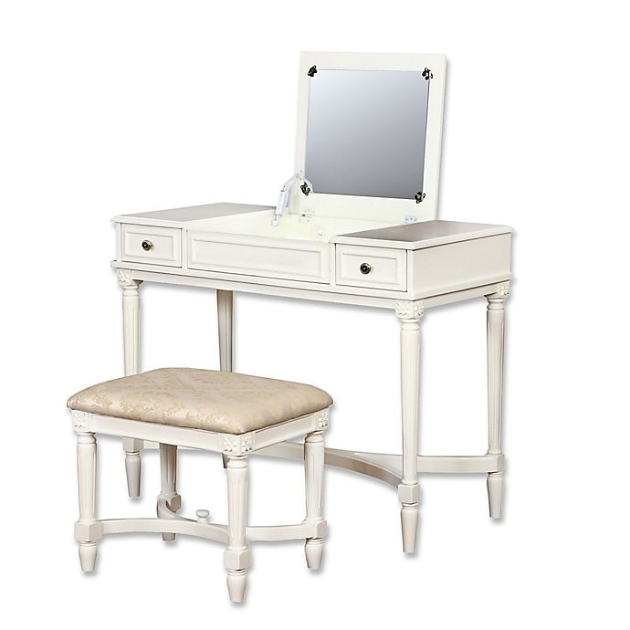 Linon Jackson Vanity Set With Mirror Reviews: Linon Home Cyndi 2-Piece Vanity Set In White