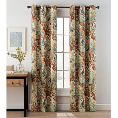 Paisley Grommet Top Window Curtain Panel Pair | Bed Bath & Beyond