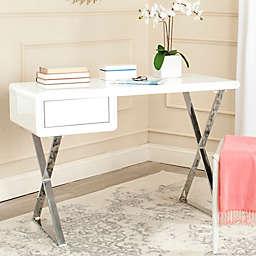 Safavieh Hanver Desk in White/Chrome