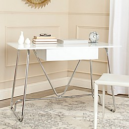 Safavieh Malloy Desk in White/Chrome