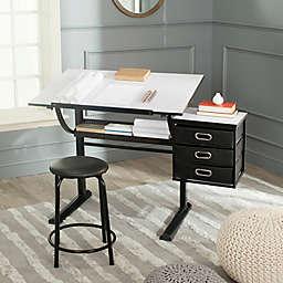 Safavieh Harvard Adjustable Angle Desk and Stool Set in Black