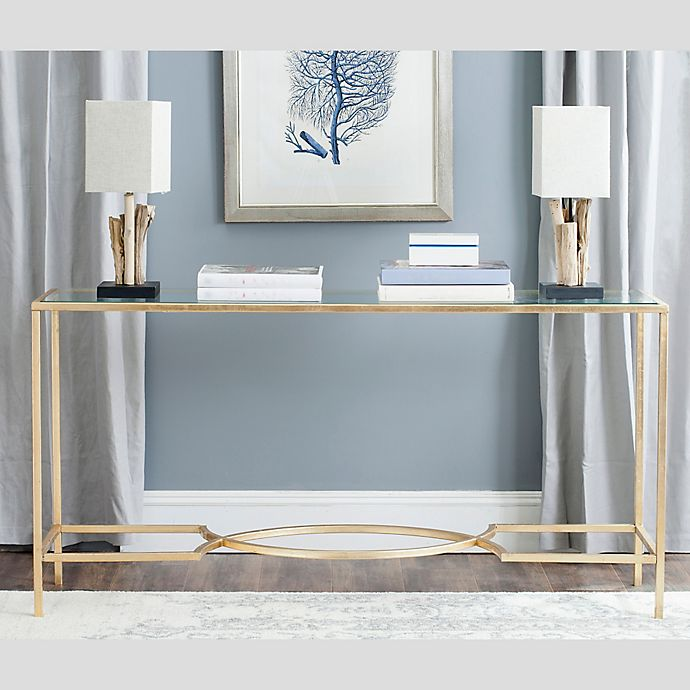 Peachy Safavieh Inga Console Table In Gold Bed Bath Beyond Ibusinesslaw Wood Chair Design Ideas Ibusinesslaworg