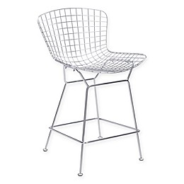 Zuo Wire Counter Chair in Chrome (Set of 2)