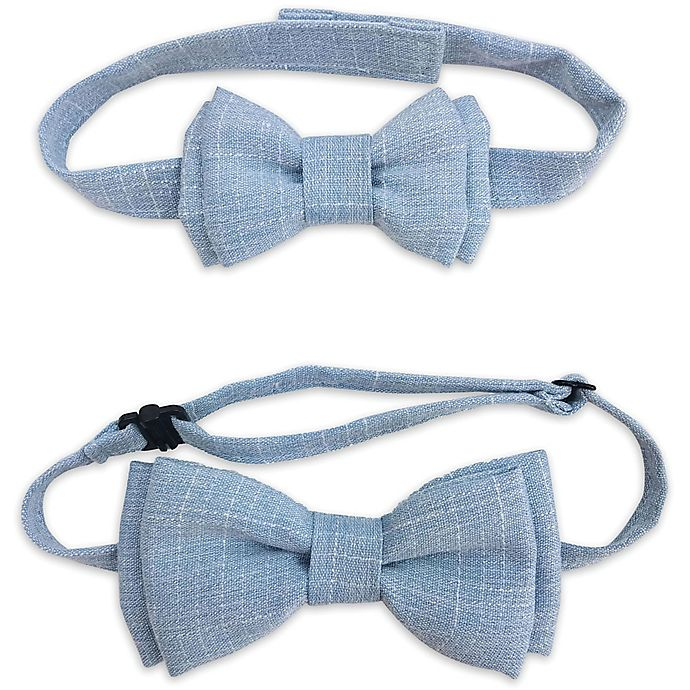 Alternate image 1 for Tiny Treasures 2-Piece Daddy and Me Bowtie Set in Blue Chambray