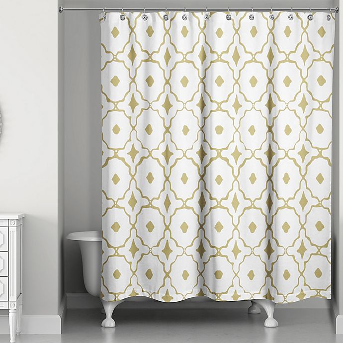 Designs Direct Glam Golden Quatrefoil Shower Curtain