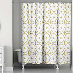 Designs Direct Glam Golden Quatrefoil Shower Curtain