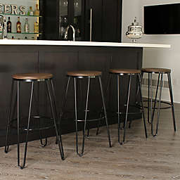 Kate and Laurel Tully Bar Stools in Black/Brown (Set of 4)