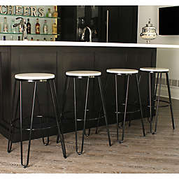 Kate and Laurel Tully Bar Stools in Black/White (Set of 4)