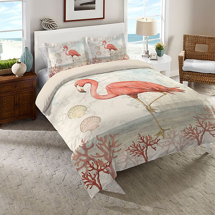 Alternate image 1 for Laural Home® Coastal Flamingo Comforter in Pink/Beige