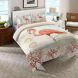 Laural Home® Coastal Flamingo Queen Comforter in Pink/Beige