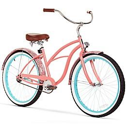 Sixthreezero Paisley Women's 26-Inch 1-Speed Beach Cruiser Bike in Coral Pink