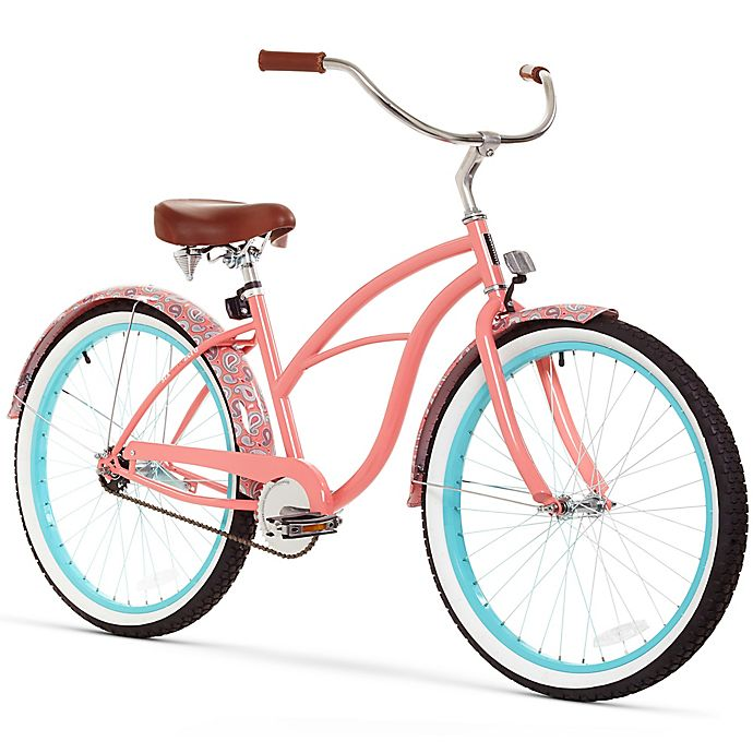 Alternate image 1 for Sixthreezero Paisley Women's 26-Inch 1-Speed Beach Cruiser Bike in Coral Pink
