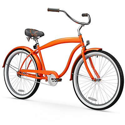 "sixthreezero Men's Mammoth 26"" Single Speed Beach Cruiser Bicycle Bicycle in Orange"