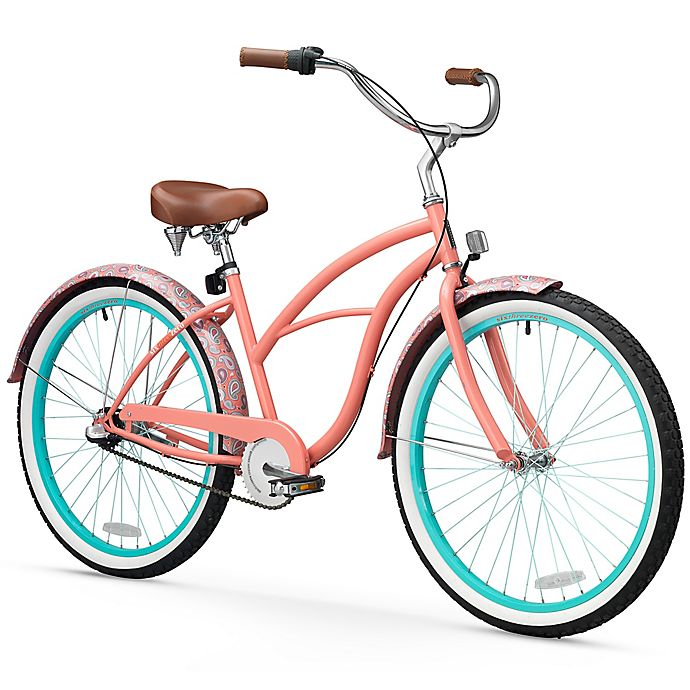 Alternate image 1 for Sixthreezero Paisley Women's 26-Inch 3-Speed Beach Cruiser Bike in Coral Pink
