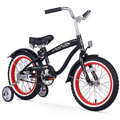 "Firmstrong Boy's Bruiser 16"" Single Speed Bicycle w/Training Wheels in Black w/Red Rims"