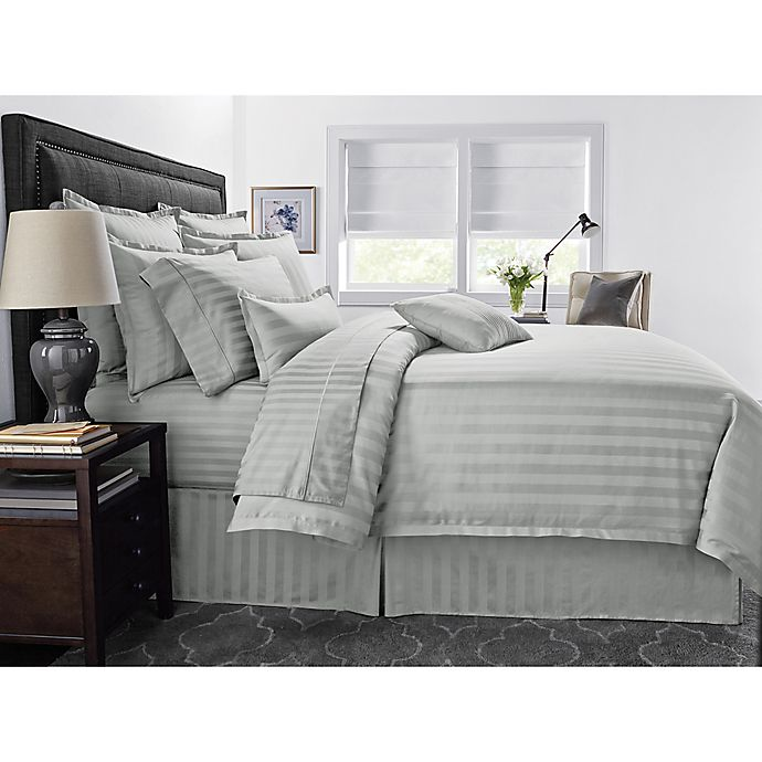 Alternate image 1 for Wamsutta® 500-Thread-Count PimaCott® Damask Stripe 3-Piece King Comforter Set in Silver