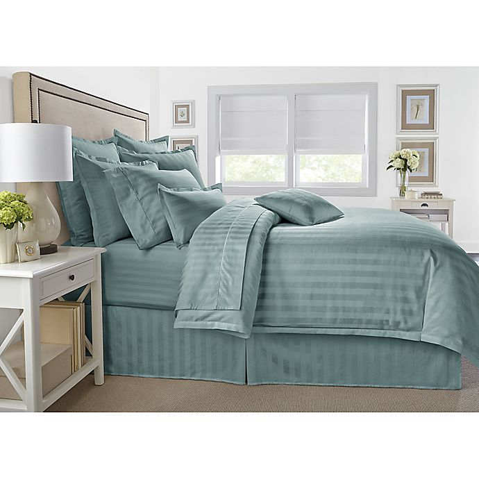 Alternate image 1 for Wamsutta® 500-Thread-Count PimaCott® Damask Stripe King Comforter Set in Aqua