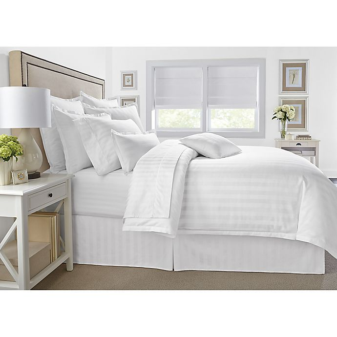 Alternate image 1 for Wamsutta® 500-Thread-Count PimaCott® Damask Stripe 3-Piece Full/Queen Comforter Set in White