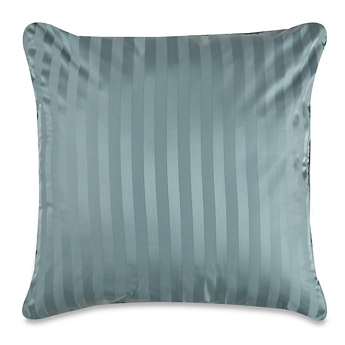 Alternate image 1 for Wamsutta® 500-Thread-Count PimaCott® Damask Stripe European Throw Pillow in Aqua