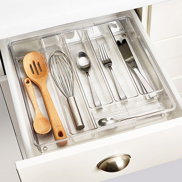 Alternate image 1 for iDesign® Linus Acrylic Expandable Cutlery Tray