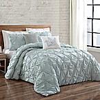 Brooklyn Loom Jackson Pleat Full/Queen Comforter Set in Seaglass