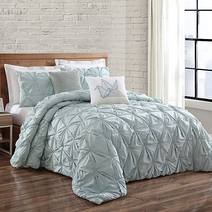 Alternate image 1 for Brooklyn Loom Jackson Pleat Twin XL Comforter Set in Seaglass