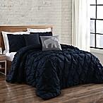 Brooklyn Loom Jackson Pleat Full/Queen Comforter Set in Navy