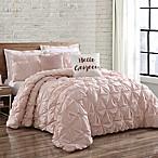 Brooklyn Loom Jackson Pleat King Comforter Set in Blush