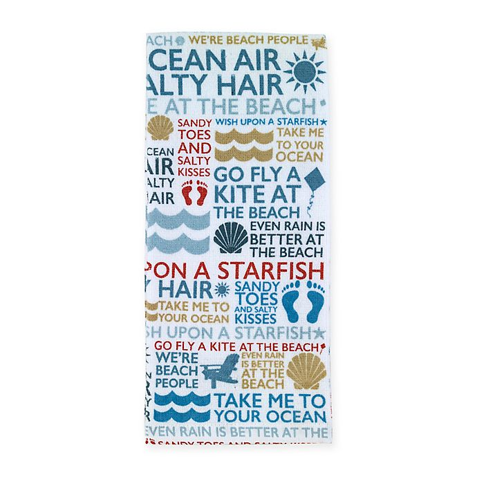 Alternate image 1 for Beach Words Printed Kitchen Towel