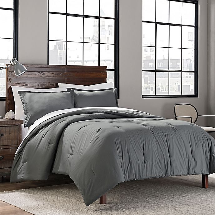 Alternate image 1 for Garment Washed Solid 2-Piece Twin/Twin XL Comforter Set in Grey