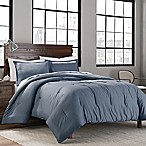 Garment Washed Solid Full/Queen Comforter Set in Denim