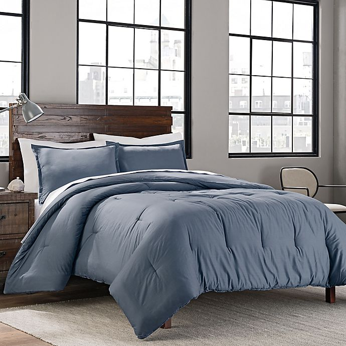 Alternate image 1 for Garment Washed Solid Full/Queen Comforter Set in Denim