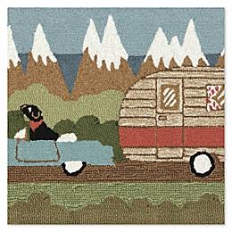 Camping Dog 1'10 x 2'6 Indoor/Outdoor Rug in Green