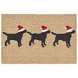 Liora Manne Frontporch Dogs Christmas Indoor/Outdoor Mat in Neutral