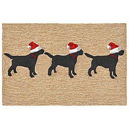 Liora Manne Frontporch Dogs Christmas Indoor/Outdoor Mat in Neutral
