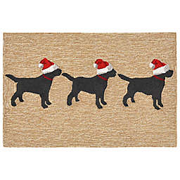 Liora Manne Frontporch Dogs Christmas Indoor/Outdoor 2-Foot 6-Inch x 4-Foot Mat in Neutral