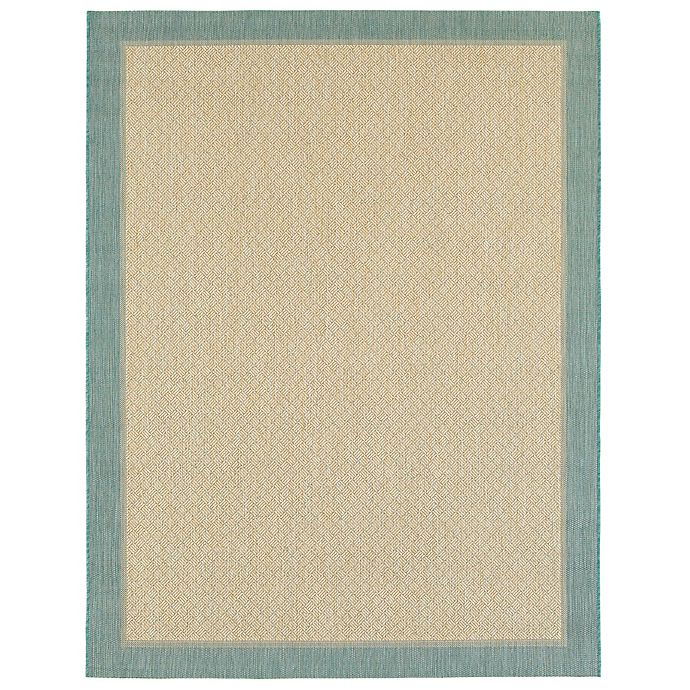 Miami Border Indoor Outdoor Rug In Aqua Bed Bath Amp Beyond