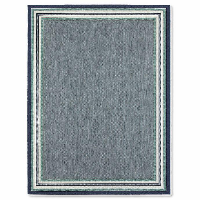 Alternate image 1 for Miami Border Stripe 5-Foot x 7-Foot Indoor/Outdoor Area Rug in Blue