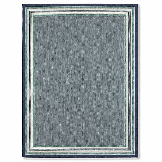 Alternate image 1 for Miami Border Stripe Indoor/Outdoor Area Rug in Blue