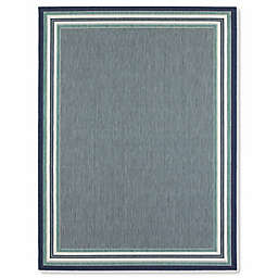 Miami Border Stripe 7-Foot 10 Inches x 10-Foot Indoor/Outdoor Area Rug in Blue