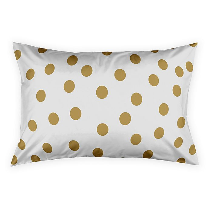 Alternate image 1 for Polka Dots King Pillow Sham in White/Gold