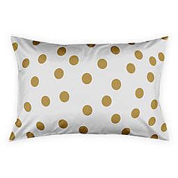 Polka Dots Pillow Sham in White/Gold