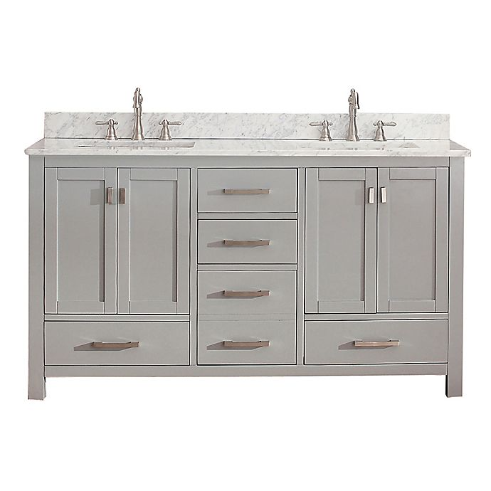 Alternate image 1 for Avanity Modero 61-Inch Double Vanity in Grey with Carrera White Marble Top
