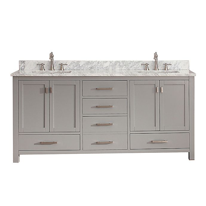 Alternate image 1 for Avanity Modero 73-Inch Double Vanity in Grey with Carrera White Marble Top