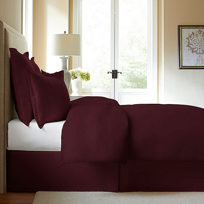 Alternate image 1 for 300-Thread-Count Cotton King Bed Skirt in Burgundy