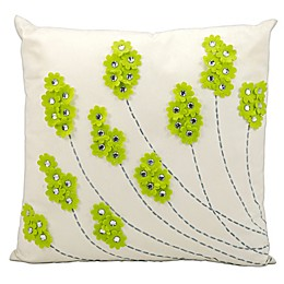 Mina Victory Felt Flowers 20-Inch Square Outdoor Pillow