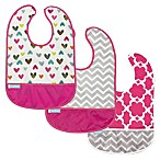 Kushies® Cleanbib Size 6-12M 3-Pack Doodle Hearts Bibs in White