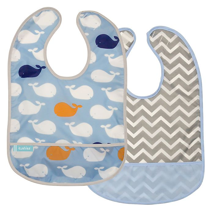 Alternate image 1 for kushies® Cleanbib Size 12M+ 2-Pack Whales Bib Set in Blue