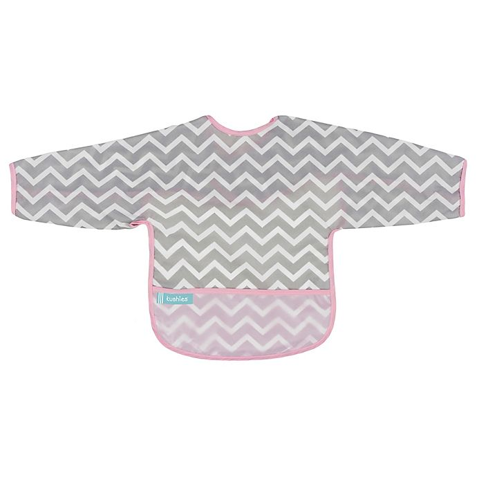 Alternate image 1 for Kushies® Chevron Cleanbib with Sleeves in Pink